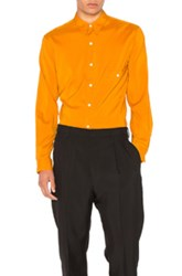 Christophe Lemaire Silk Pointed Collar Shirt In Orange