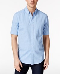 Club Room Men's Micro Check Short Sleeve Shirt Only At Macy's Palace Blue
