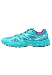 Salomon Sonic Aero Cushioned Running Shoes Fog Blue Teal Blue Mystic Purple