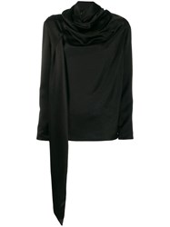 Gianluca Capannolo Draped Long Sleeved Top Black