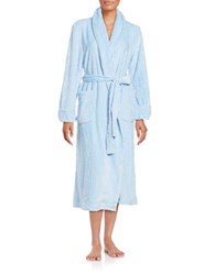 Nautica Textured Fleece Long Robe Light Blue