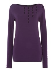 Sarah Pacini Long Fitted Sweater Purple
