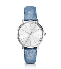 Michael Kors Jaryn Silver Tone Leather Band Watch
