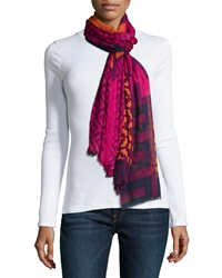 Jonathan Adler Lattice Printed Cashmere Blend Scarf Fuchsia