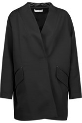 Iro Galdy Oversized Leather Trimmed Wool Blend Jacket Black