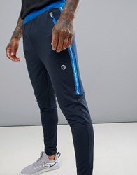 Jack And Jones Core Performance Track Bottoms With Side Tape Sky Captain Navy