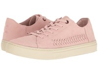 Toms Lenox Sneaker Pale Pink Deconstructed Suede Woven Panel Women's Lace Up Casual Shoes