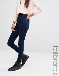 Missguided Tall Vice Super Stretch High Waisted Skinny Jeans Dark Indigo Blue