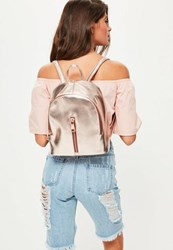 Missguided Rose Gold Oversized Zip Detail Backpack