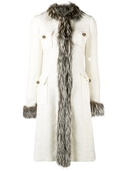 Dolce And Gabbana Vintage Trimmed Midi Coat Nude And Neutrals