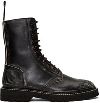 Maison Martin Margiela Black Leather Distressed Boots