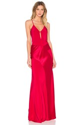 Mason By Michelle Mason V Neck Gown Red