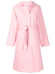 Red Valentino Belted Single Breasted Coat Pink