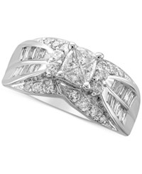 Macy's Diamond Fancy Cluster Engagement Ring 1 1 3 Ct. T.W. In 14K White Gold