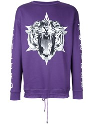 Marcelo Burlon County Of Milan Tiger Print Sweatshirt Pink Purple