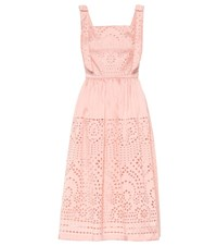 Monique Lhuillier Broderie Anglaise Satin Midi Dress Pink