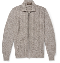 Doriani Zipped Cable Knit Cotton Cardigan Brown