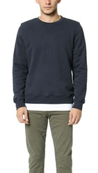 Hartford Lined Crew Sweatshirt Dark Navy