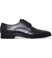 Corneliani Punched Leather Derby Shoes Black