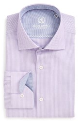 Bugatchi Men's Big And Tall Trim Fit Houndstooth Dress Shirt Orchid