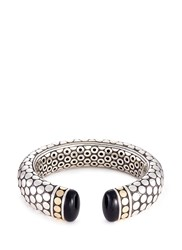 John Hardy Onyx 18K Yellow Gold Silver Dotted Cuff Metallic
