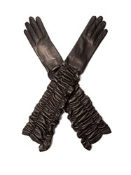 Alexander Mcqueen Leather Ruched Long Gloves Black