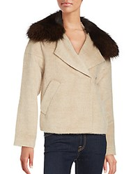 Derek Lam Cropped Fox Fur Trimmed Peacoat Beige