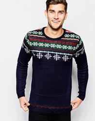 Asos Christmas Jumper With Snowflake Fairisle Navy
