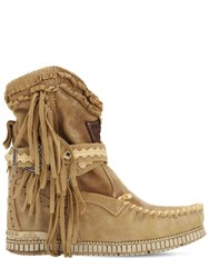 El Vaquero 70Mm Arya Fringed Leather Boots Sand