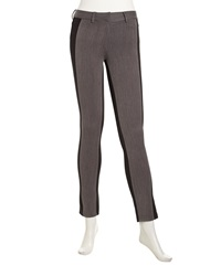 Hutch Two Tone Stretch Knit Fitted Pants Black Charcoal
