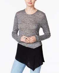 Bar Iii Asymmetrical Colorblocked Sweater Only At Macy's Black Combo