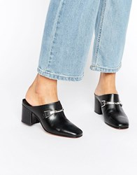 Asos Oxygen Leather Snaffle Mules Black Leather
