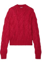 Prada Cable Knit Mohair Blend Sweater Red