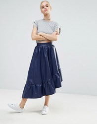 Asos Asymmetric Hem Skirt With Ruffle Detail In Leather Look Mauve Pink