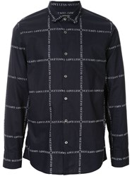 Loveless Logo Print Long Sleeve Shirt Blue