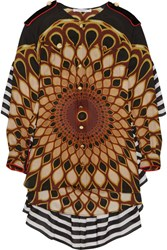 Givenchy Printed Ruffled Shirt In Multicolored Silk Georgette Brown