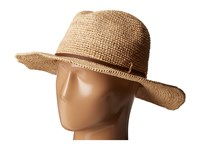 Hat Attack Raffia Crochet Continental Natural Taupe Leather Trim Traditional Hats Brown