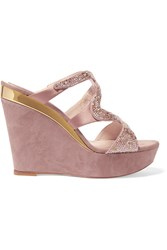 Rene Caovilla Embellished Satin And Suede Wedge Sandals Purple