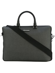 Ermenegildo Zegna Leather Trimmed Herringbone Laptop Bag Men Leather One Size Grey