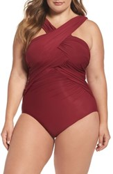 Miraclesuitr Plus Size Women's Miraclesuit High Neck One Piece Swimsuit Pompeii Red