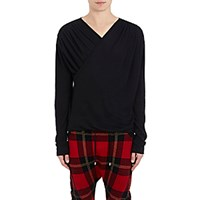 Balmain Men's Jersey Wrap Front Shirt Black Blue Black Blue