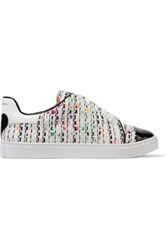 Isa Tapia Caelen Leather And Textured Woven Sneakers White