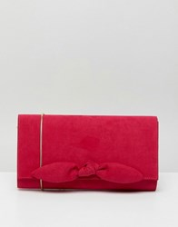 Miss Kg Suedette Small Bow Clutch Pink