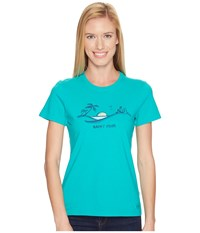 Life Is Good Happy Hour Beach Crusher Tee Bright Teal Women's T Shirt Blue