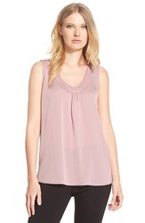 Petite Women's Classiques Entier Ruched V Neck Stretch Silk Top Pink Hush