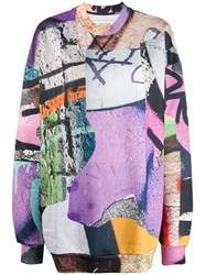 Marques Almeida Marques'almeida Graffiti Oversized Sweatshirt Purple