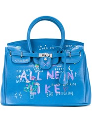 Guernika All Neon Like Printed Tote Blue
