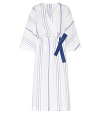 Loewe White And Blue Cotton And Linen Wrap Dress