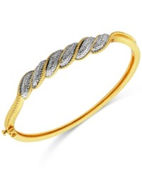 Macy's Diamond Accent Swirl Hinged Bangle Bracelet In Gold Plated Sterling Silver Yellow Gold
