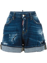 Dsquared2 Wide Leg Denim Shorts Blue